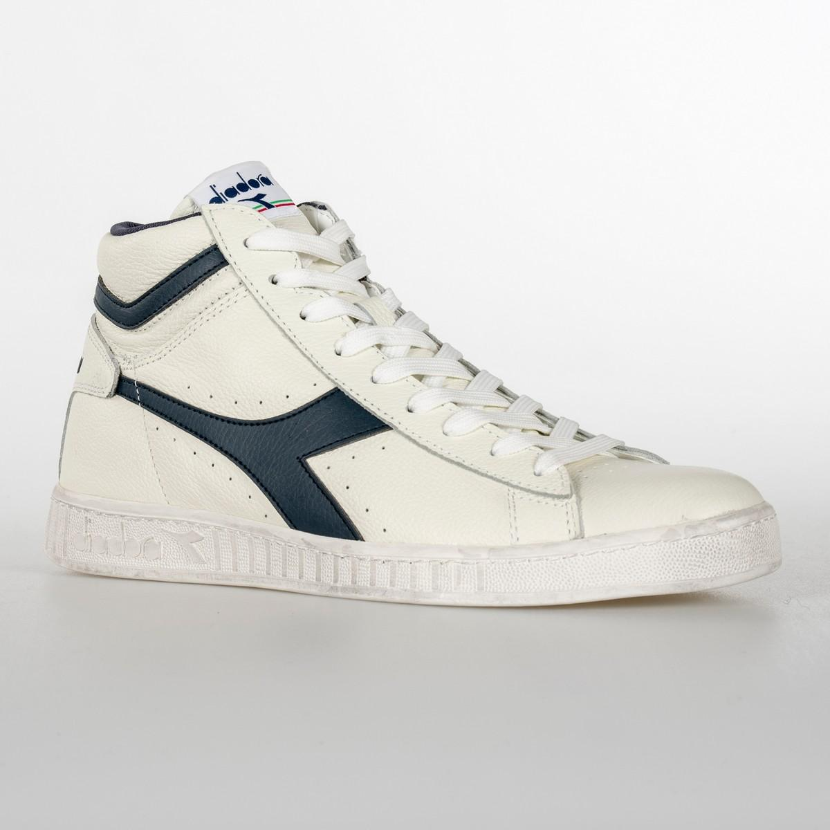SCARPA UNISEX DIADORA GAME L HIGH WAXED C5262 BIANCO BLU 2b10ca7b455